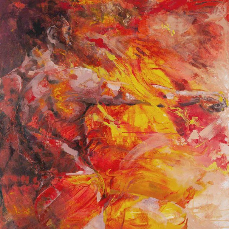 Taiteilija Tuula Ropponen maalaa ihmisiä